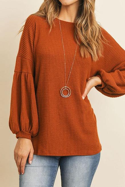 Beautiful Bubbly Sleeve Sweater in Rust