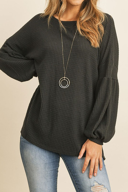 Beautiful Bubbly Sleeve Sweater in Black