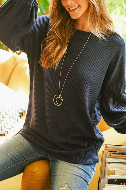 Beautiful Bubbly Sleeve Sweater in Navy