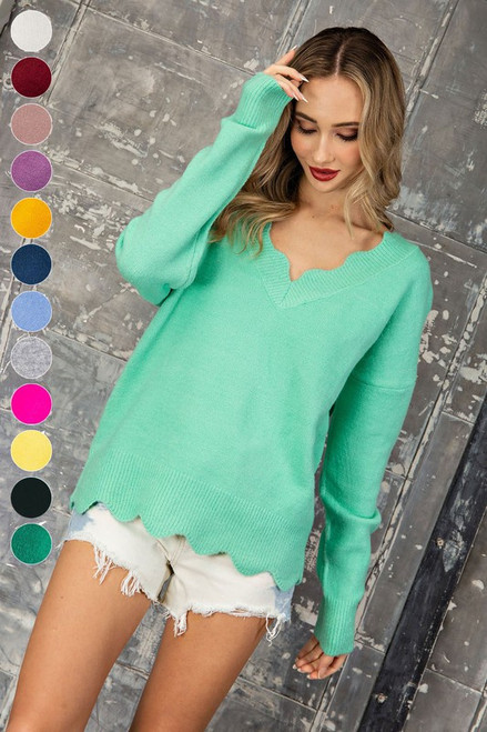Scallop Me Around Sweater in Mint
