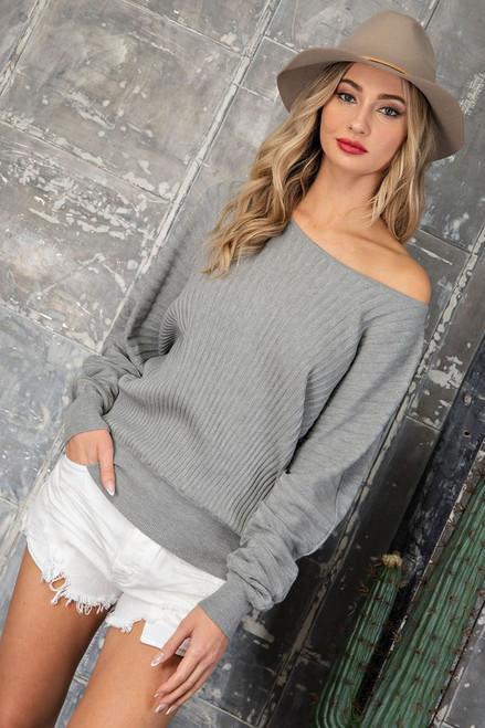 Off My Shoulder Dolman Sweater in Gray