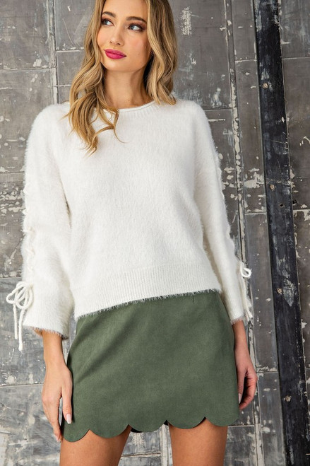 Always Tied Up The Sleeves Sweater in Cream