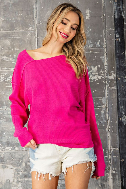 Over To That Side Sweater in Hot Pink
