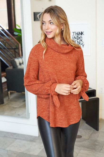 Too Cute Cowl Neck Top in Cinnamon