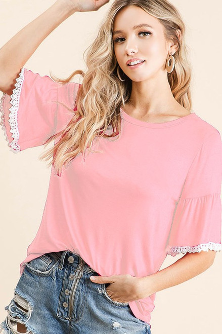 Blushing Bell Sleeve Top