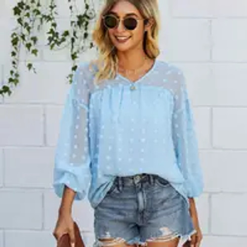 Spotted You! Icy Blue Top