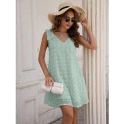 Sweet Dots Ruffled Tank Dress in Mint