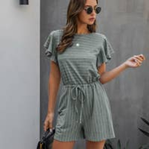 All Striped Up Romper in Gray