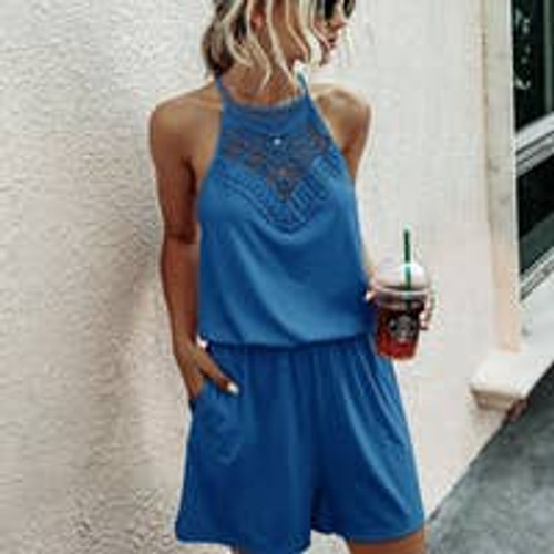 Lacy Day Romper in Blue