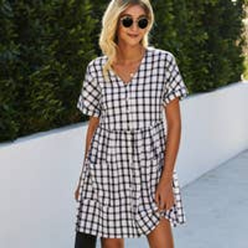 All Buttoned Up Gingham Dress
