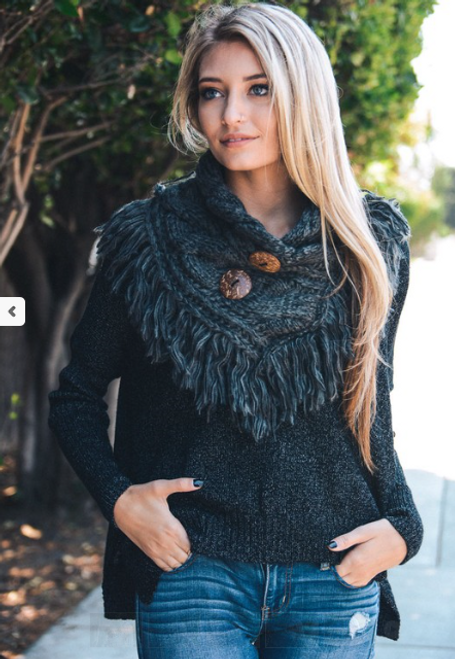 Fringe Benefits Button Up Scarf - Charcoal