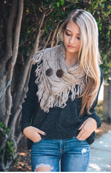 Fringe Benefits Button Up Scarf - Mocha