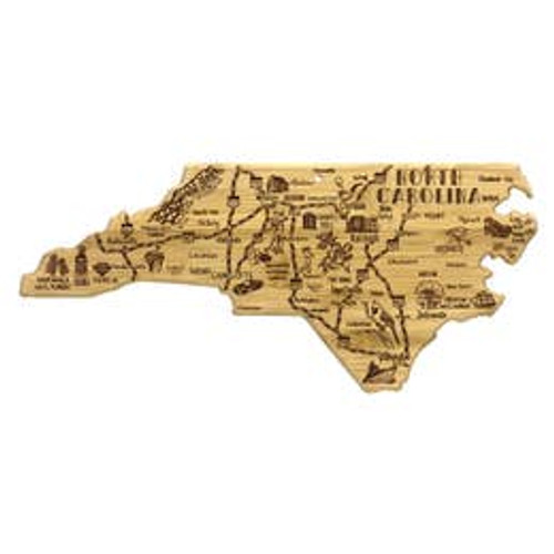 """Destinations Series captures the spirit of each state with fun laser engraved artwork of the towns, places and sights throughout the state. Each board is cut to the unique shape of North Carolina. These boards are great for serving on the front or cutting on the reverse side that has no artwork. They also include a hang tie to easily double as well décor.   Measures 18"""" x 8"""" x 5/8"""""""