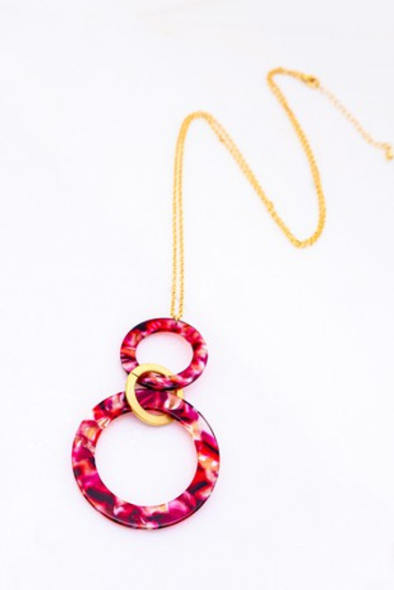 Double The Red Rings Necklace