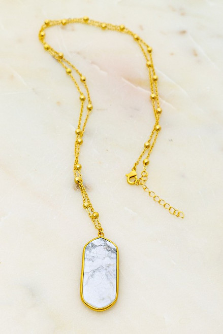 Lovely Long Stone Necklace In Howlite