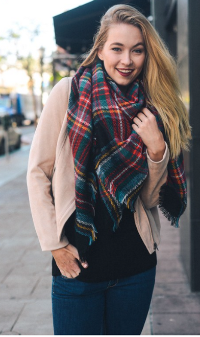 Wrapped In Black Blanket Scarf