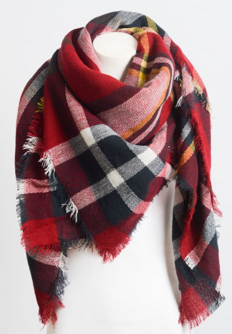 Ready In Red Blanket Scarf