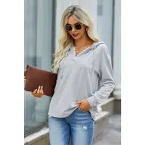 Hint Of Lace Sweater In Gray