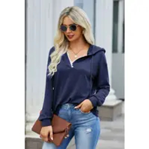 Hint Of Lace Sweater In Navy