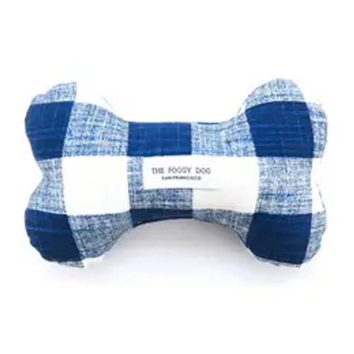 Navy Blue Gingham Dog Bone Squeaky Toy