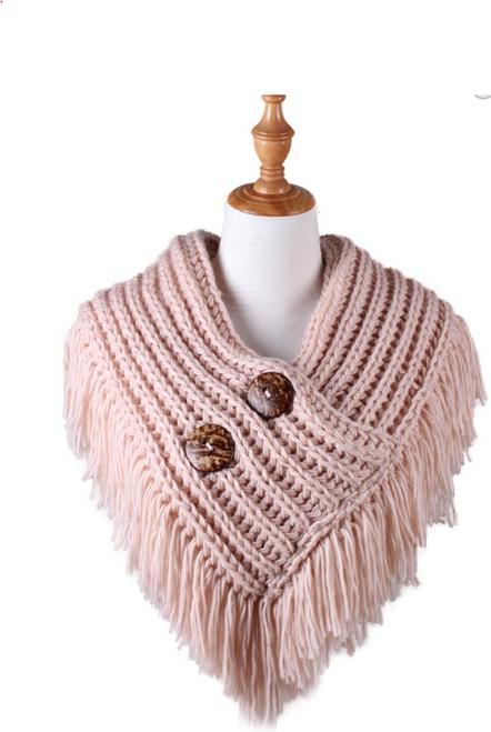 Fringe Benefits Button Up Scarf -Pink