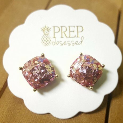Confetti Sparkle Stud Earrings - Pink