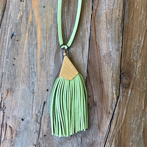 Touch Of Tassel Necklace In Green FINAL SALE