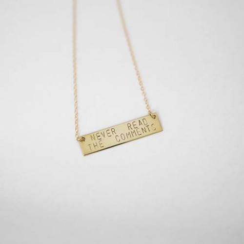 Never Read The Comments Hand Stamped Necklace
