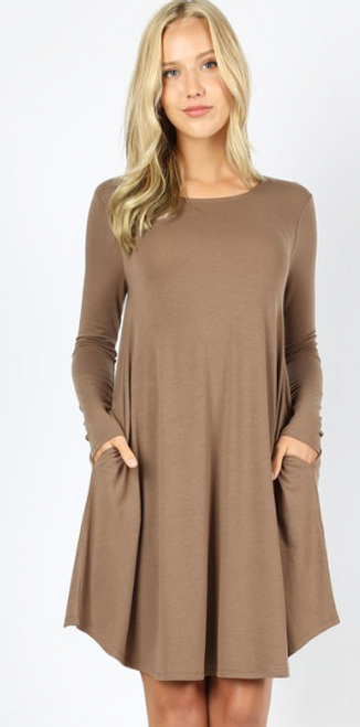Pocket Perfection Dress In Mocha