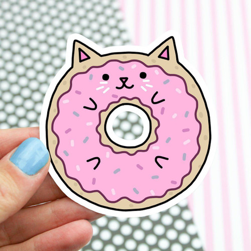 Donut Cat Vinyl Sticker