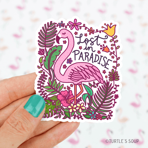 Lost in Paradise Flamingo Vinyl Sticker