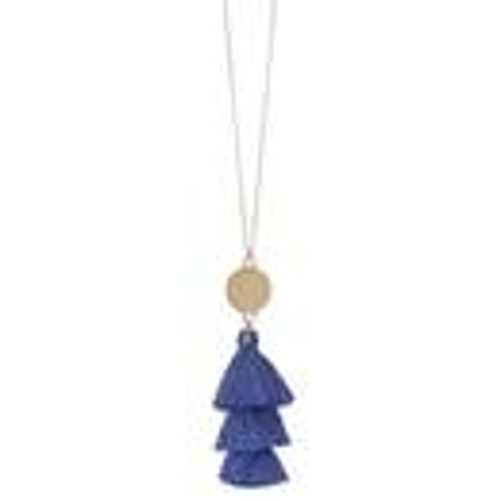 Gold Charm & Tassel Necklace in Hydrangea FINAL SALE