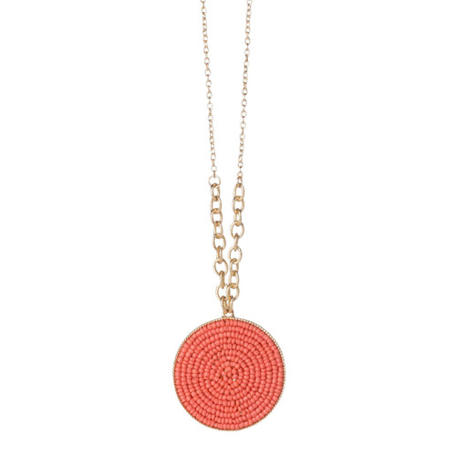 Running In Circles Necklace in Coral