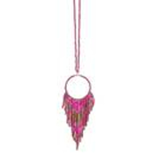 Fun Fringe Necklace In Pink