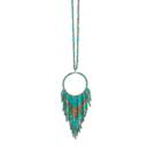 Fun Fringe Necklace In Turquoise
