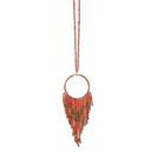Fun Fringe Necklace in Coral FINAL SALE