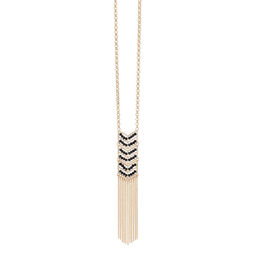 If your looking for an eye catching beauty, try our crystal chevron necklace. With a gold cable chain, this necklace features a chevron pendant with crystal rows that's sure to keep you on trend. Wear alone to let this style shine or add to other gold necklaces to create a layered look. Pendant measures 6in on 15in adjustable chain. Nickle and lead free.