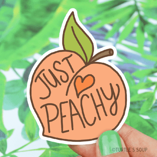 Just Peachy Fruit Vinyl Sticker