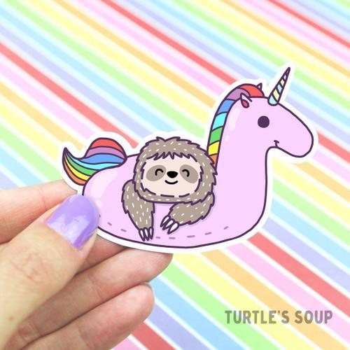 Sloth Unicorn Pool Float Vinyl Sticker