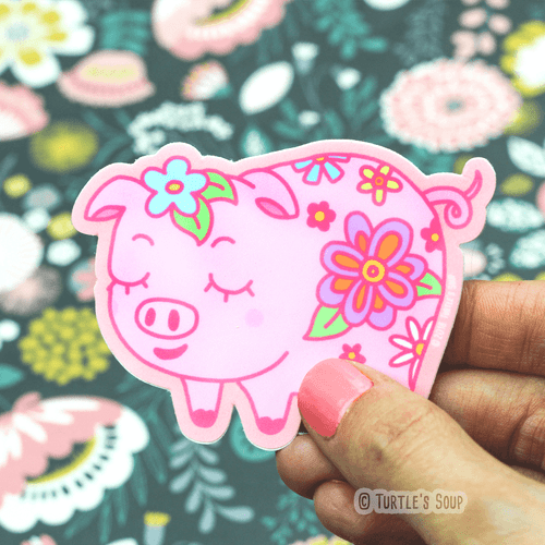 Pink Floral Pig Vinyl Sticker