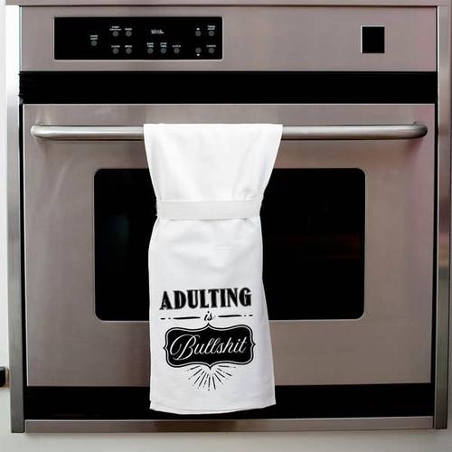 Adulting Is Bullshit Tea Towel