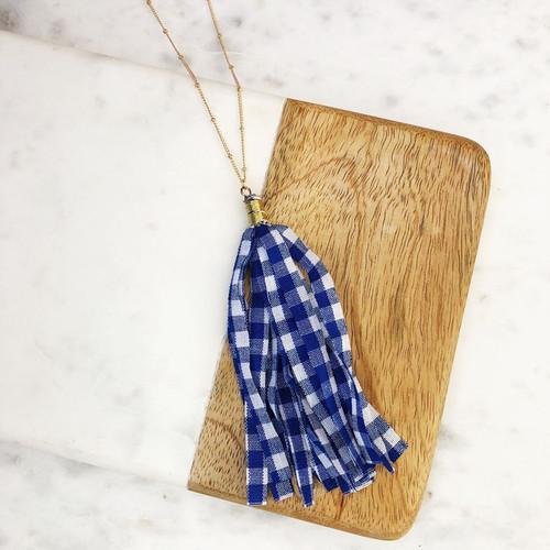 Blue Gingham Tassel Necklace