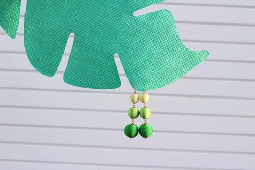 Green Ombre Lantern Dangle Earrings
