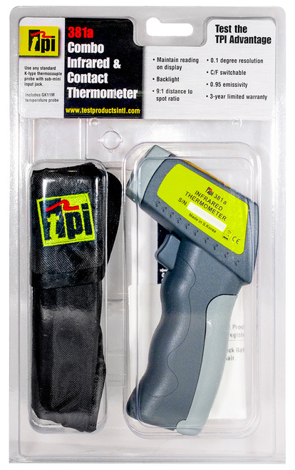 TPI 381a Non-Contact Infared Digital Thermometer Hang Pack Plumbing Tools