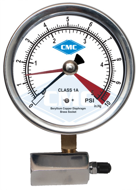 "4"" Economy Gas Pressure Test Gauge - 0-5 PSI"