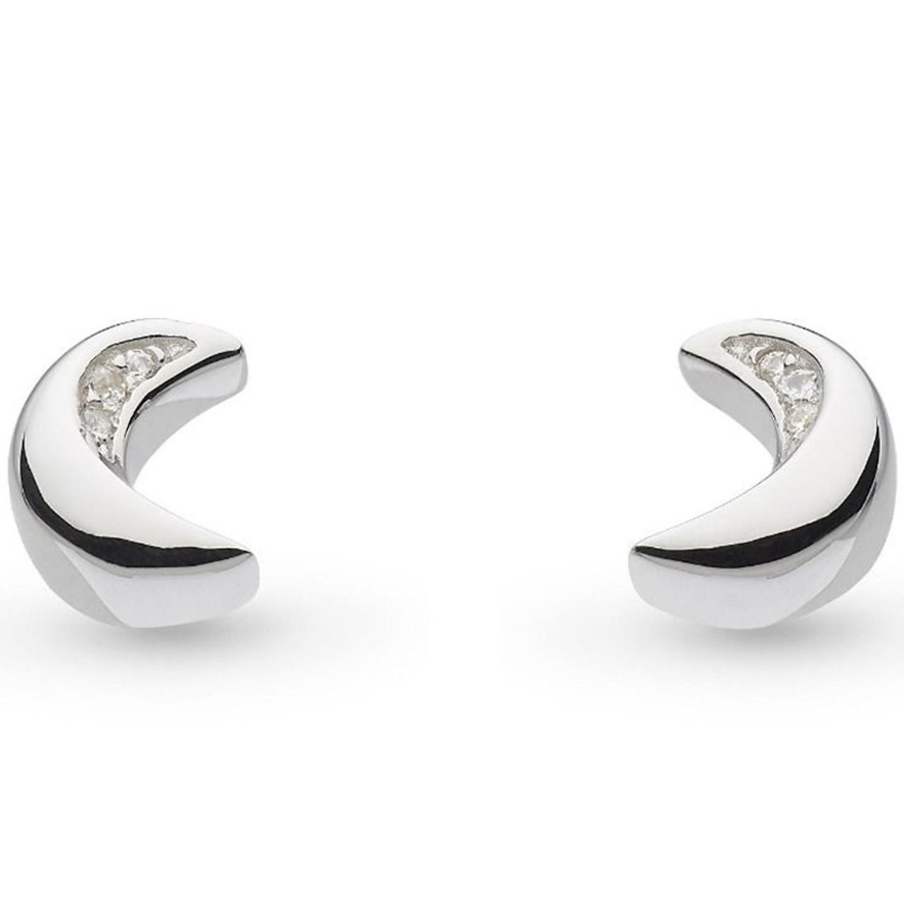 b1444ccc615a1 Kit Heath Ladies Silver Miniature Sparkle Cubic Zirconia Mini Moon Stud  Earrings 40035CZ027