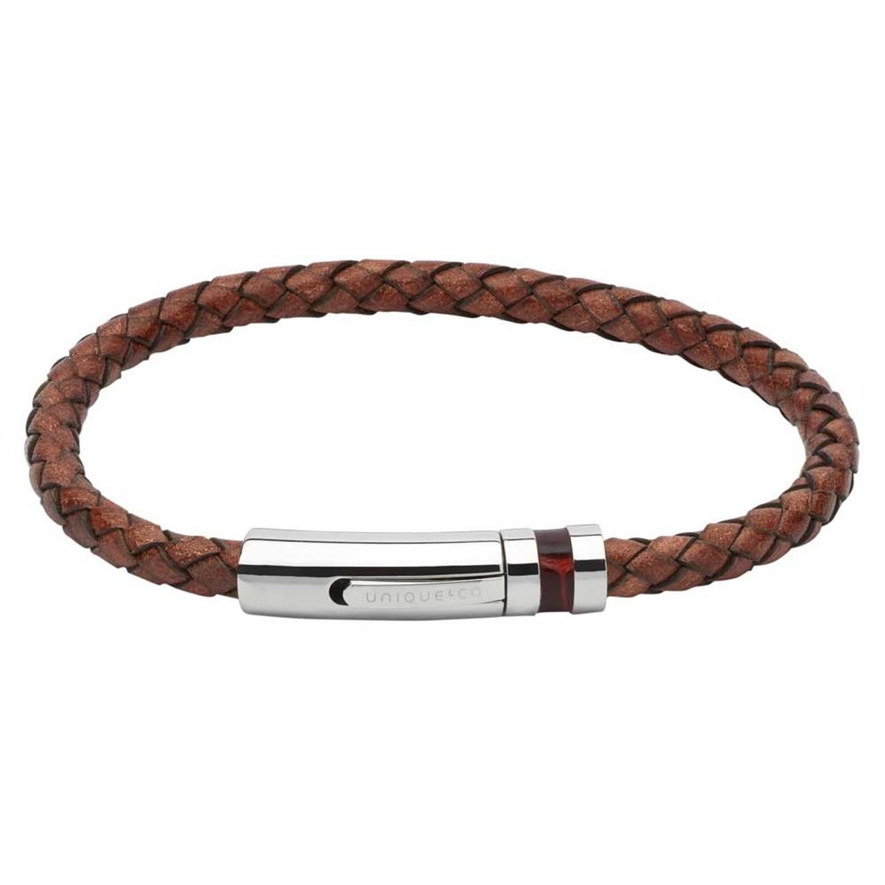 Unique /& Co Men/'s 21cm Black Leather Bracelet with Stainless Steel Clasp