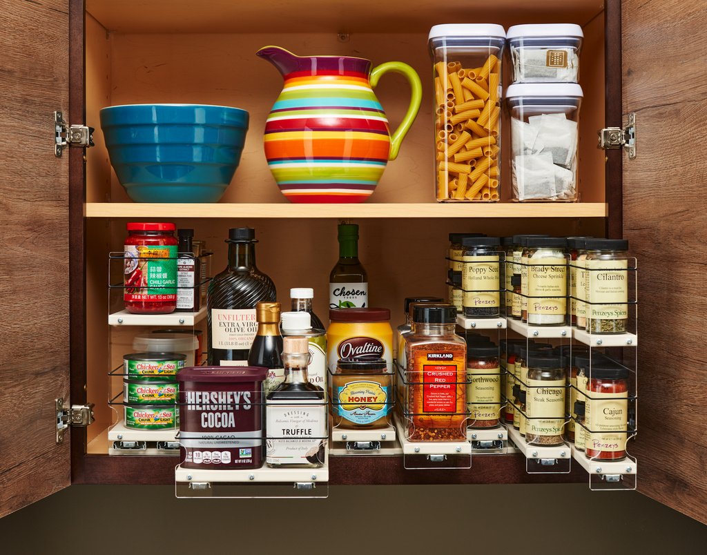 Utilize the Vertical Spice Drawers to Access and Organize Your Cabinet