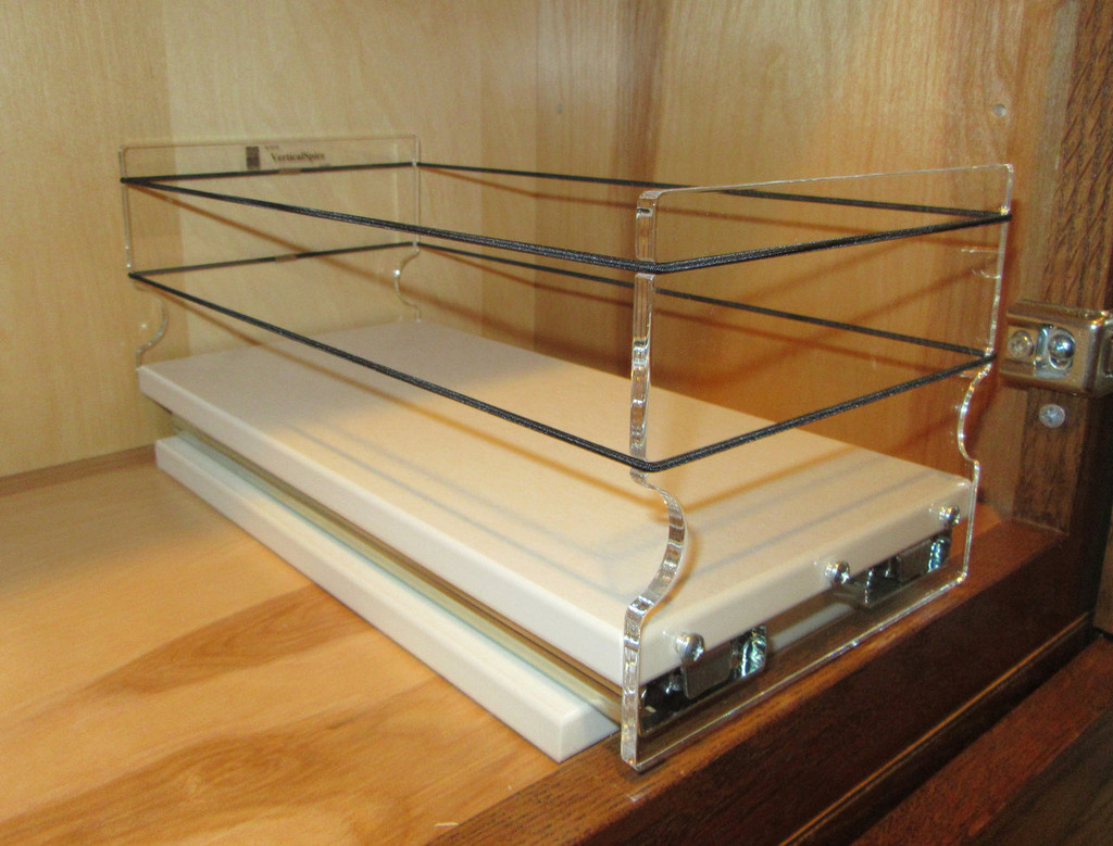5x1x11 Spice Rack, Cream - In cabinet