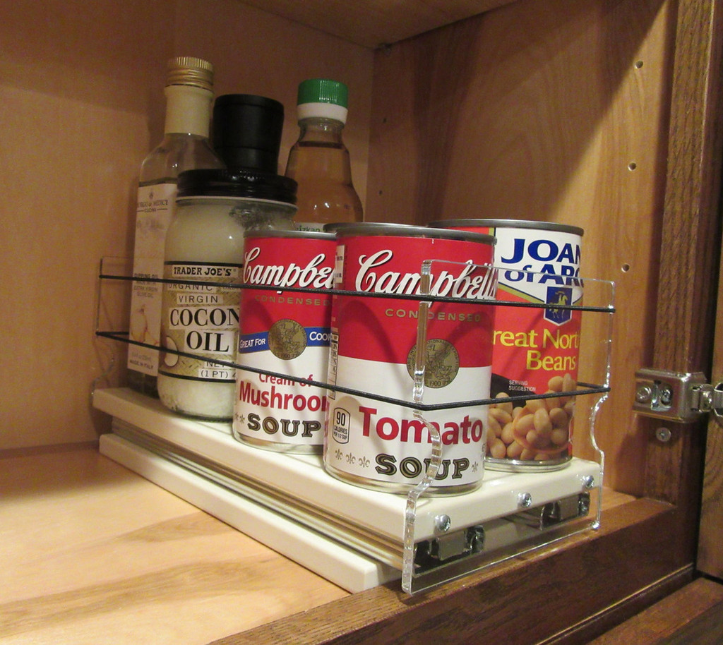 5x1x11 Spice Rack, Cream - Full drawer in